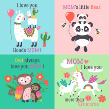 Mother's Day Cute Animals Set With Llama, Unicorn, Panda Bear And Owl.