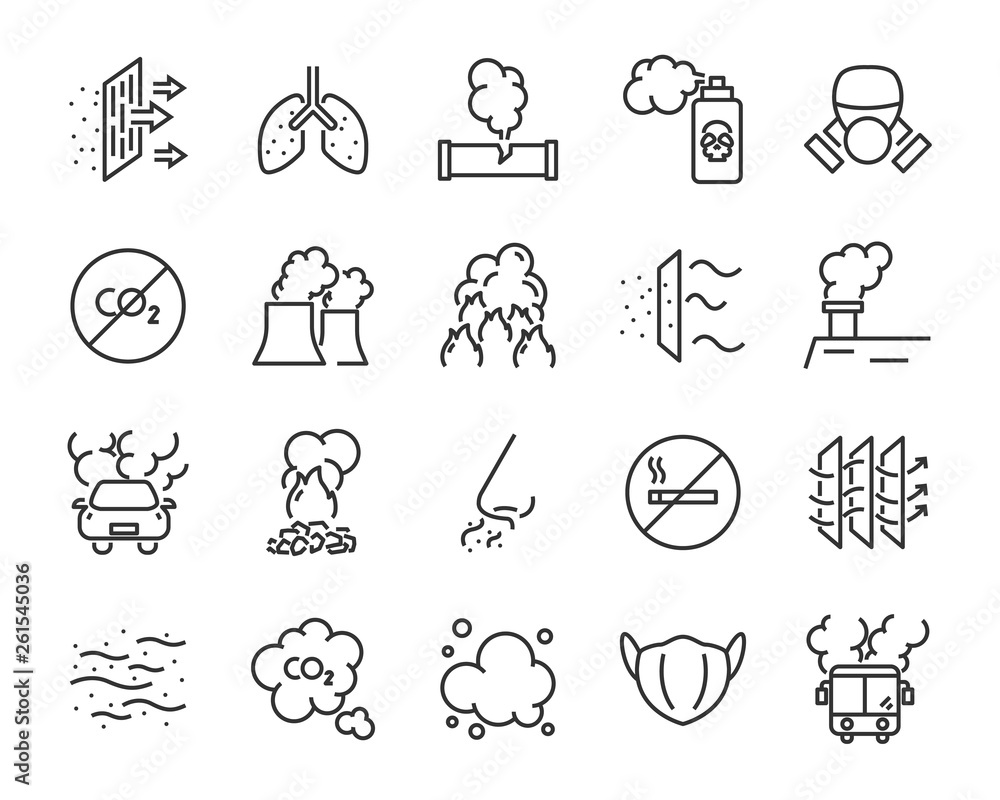 Fototapeta set of air pollution icons, such as smog, dust, smoke, emission