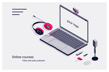 Isometric Flat Template Home Page Of Online Courses With Laptop, Flash Drive, Microphone And Headphones.
