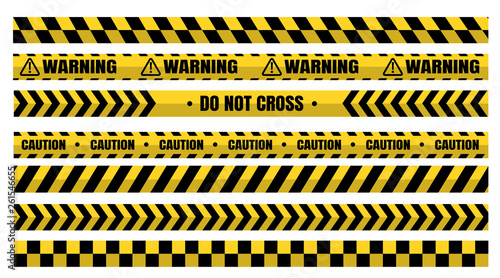 Obraz na plátně  Hazardous warning tape sets must be careful for construction and crime