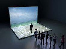 People Look At The Virtual Sea
