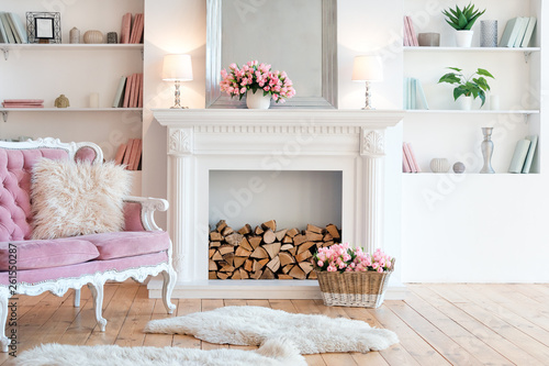 Modern light interior with fireplace, spring flowers and cozy pink sofa Fototapet