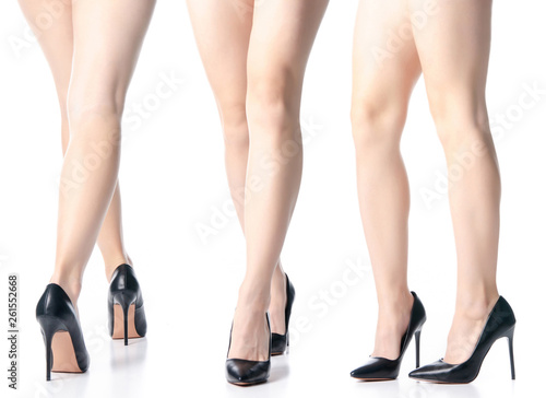 Set female legs in black high heels shoes fashion on white background isolation