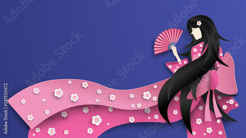 Canvas-taulu Illustration of Japanese girl wearing kimono costume with cherry blossoms pattern