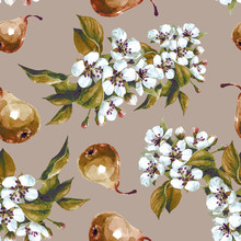 Watercolor Seamless Pattern Of Flowering Pear Branches In The Spring Garden.