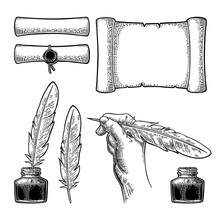 Inkwell, Scroll And Female Hand Holding Goose Feather. Vector Engraving