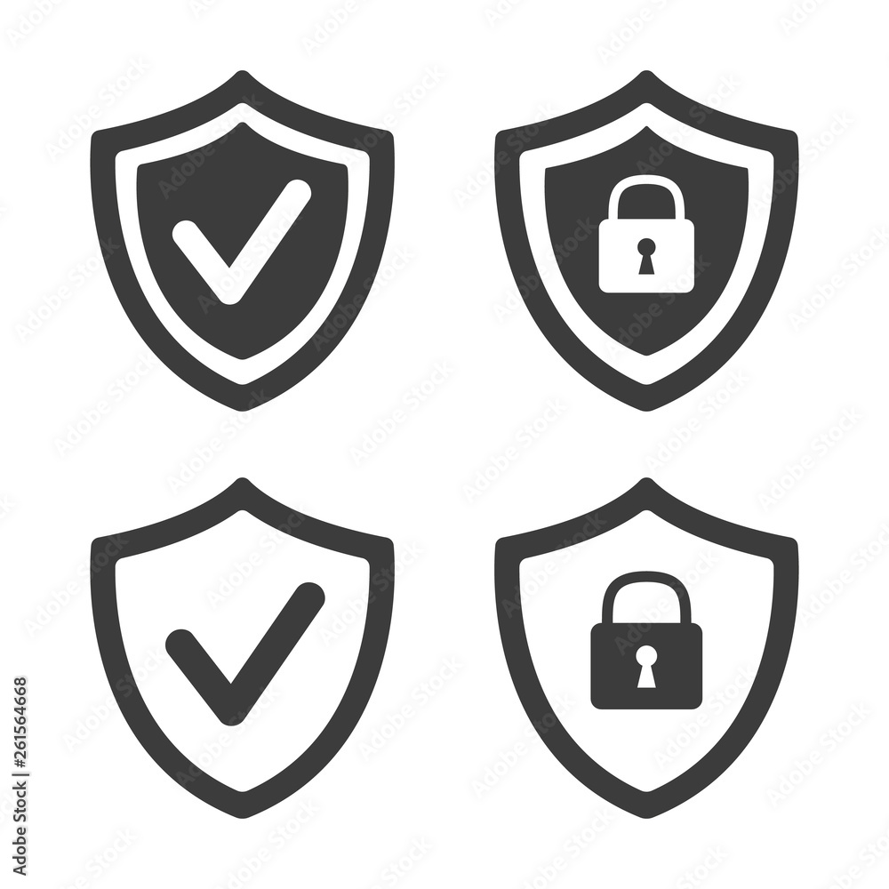 Fototapeta Shield with security and check mark icon on white background.