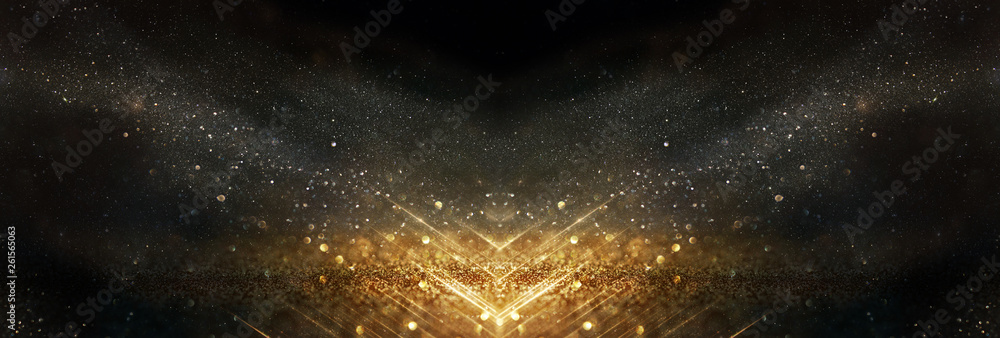 Fototapety, obrazy: glitter vintage lights background. black and gold. de-focused