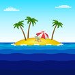 Paradise island in the middle of the ocean with three palm trees, a chaise longue and an umbrella. Square illustration.
