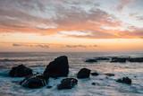 Rocky coast at sunset, at Wood's Cove, in Laguna Beach, Orange County, California