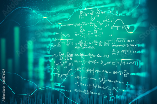 Leinwand Poster Digital mathematical formulas background