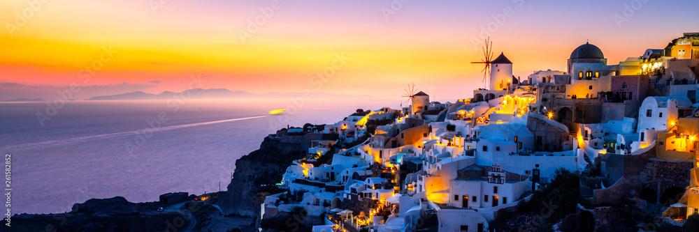 Fototapeta View of Oia the most beautiful village of Santorini island.