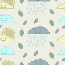 Cloud, Sun And Rain Weather Repeat Pattern