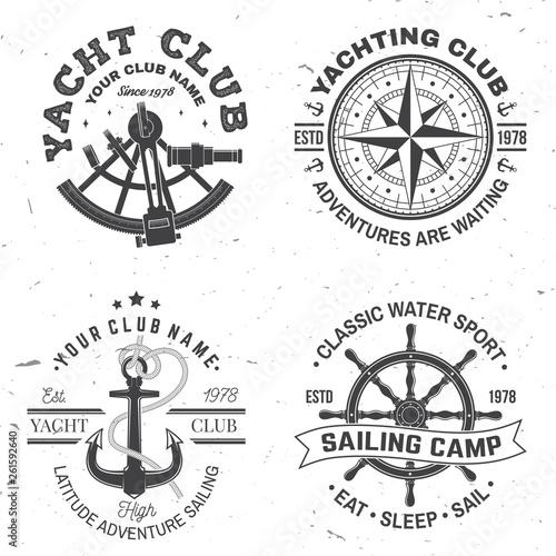 Set of summer sailing camp badge Wallpaper Mural