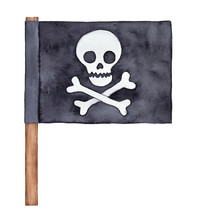 Black Watercolour Pirate Flag With Skull And Crossbones Silhouette, On Thick Wooden Stick. Handdrawn Water Color Sketchy Painting On White, Cutout Stylish Grungy Clipart Element For Design Decoration.