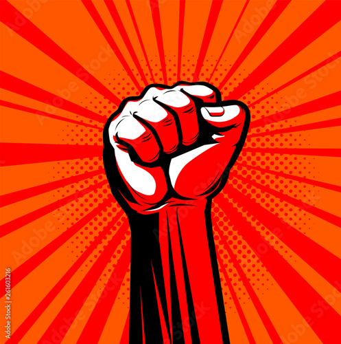 Raised hand with clenched fist. Vector illustration Fototapeta