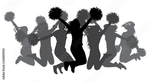 Fotografía Jumping girls with pom-poms