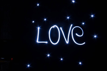 LOVE word written by light