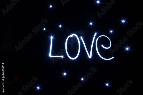 LOVE word written by light