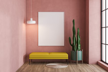 Pink Living Room With Bench An...