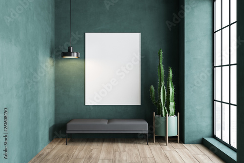 Fotografering Green living room with bench and poster
