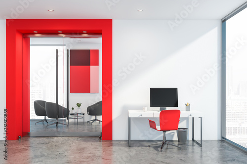 Obraz White and red office waiting room with computer - fototapety do salonu