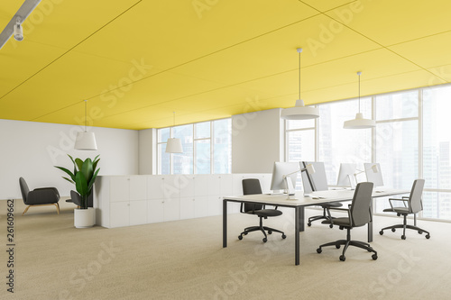 Stickers pour porte Pierre, Sable Corner of modern office workplace with armchair