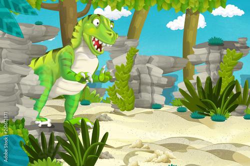 Foto auf AluDibond Drachen cartoon scene with dinosaur tyrannosaurus rex in the jungle - illustration for children