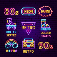 Retro Neon Label Set