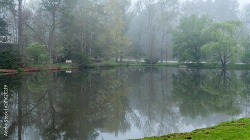 Fotografie, Obraz  Reflection of bench and trees on pond