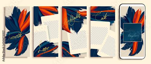 Fotografie, Obraz  Trendy editable stories templates with blue and orange flowers, vector illustration