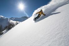 Snowboarder In Deep Powder, Extreme Freeride - Austria.