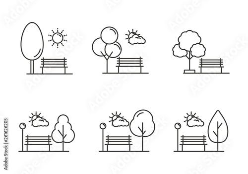 Valokuva Set of park icon with outline design. Park vector illustration
