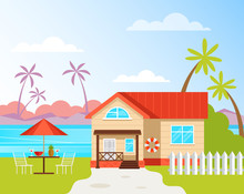Resort House Building Rent Near Beach Sea Ocean Seaside Cost. Holiday Vacation Travel Concept. Vector Flat Cartoon Graphic Design Illustration