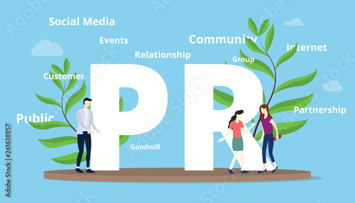 Photo pr public relations concept with big text and people team with another text spre