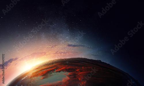 Sunrise on planet orbit, sp...