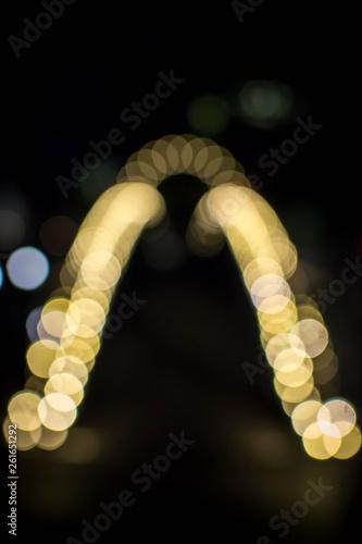 Fotografie, Obraz  Bokeh of lit bridge