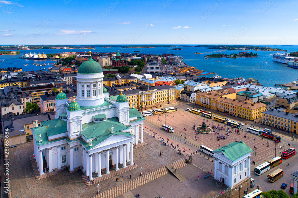 Fototapety, obrazy: Helsinki cityscape with Lutheran cathedral at Senate square Aerial