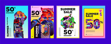 Vector Summer Sale 50% Discount Poster Design Template For Fashion,music,game, And Travel