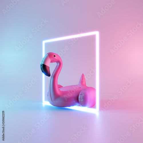 Flamingo float with neon light on pastel background. Summer minimal concept. 3d rendering