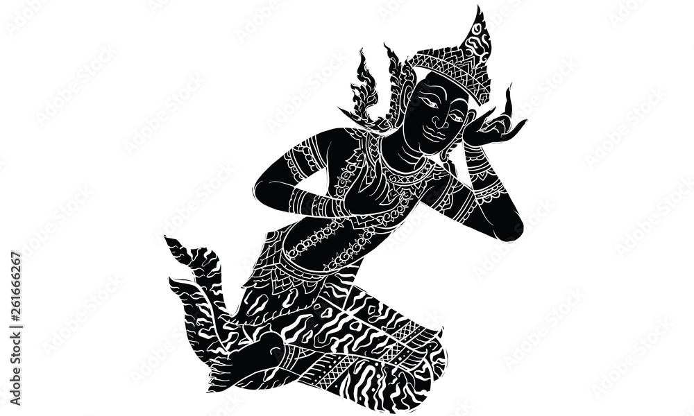 Fototapeta Thai traditional tattoo, Thai traditional painting in temple, vector