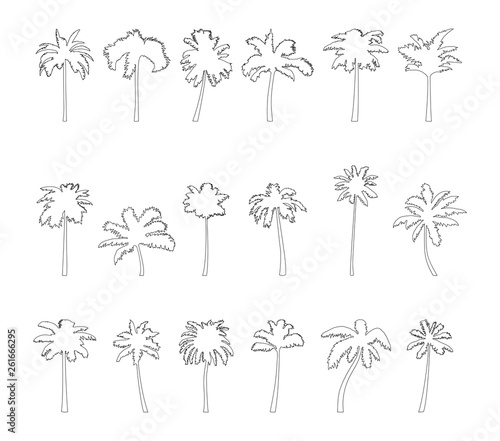 Coconut palm tree silhouette icon set. Wall mural