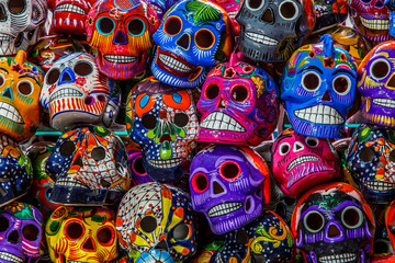 Mexican colorful skulls. Mexican / hispanic ceramic pottery Day of the Dead (Dia de los Muertos) skulls
