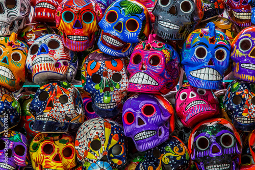 Photo  Mexican colorful skulls