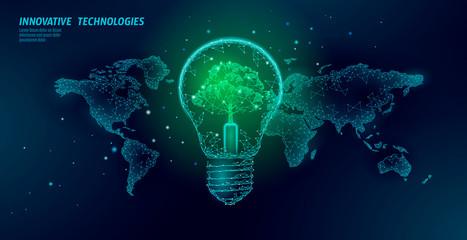 Panel Szklany Eko Light bulb with tree on world map. Lamp saving energy ecology environment idea concept. Polygonal light electricity green energy power banner vector illustration