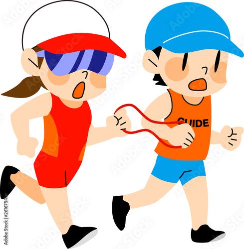 障害者スポーツ 伴走者とマラソンをする視覚障害の女性 Canvas Print