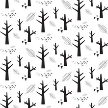 Vector Monochrome Seamless Pattern With Black Nature Elements On A White Background