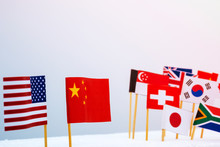 USA China And Multi Countries Flags. It Is Symbol Of America First Policy And Tariff Trade War.-Image.