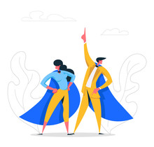 Super Hero Business People Characters In Cape. Leadership Teamwork, Career Growth, Goal Achievement Concept With Successful Businessman And Businesswoman. Flat Vector Cartoon Illustration