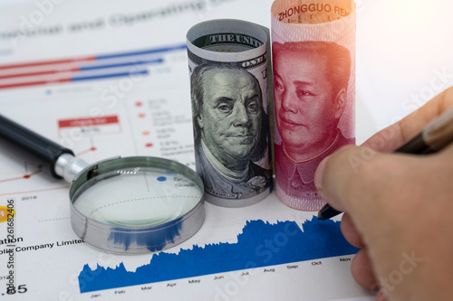 US dollar and Yuan China which its are 2 biggest countries for economic growth Canvas Print